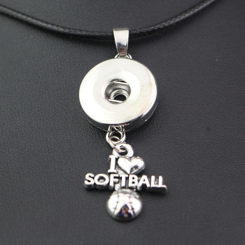 Cadena de cuerda de 45cm para mujer, collar deportivo de softball I love con broche de metal de 18mm, collar de botón DIY, accesorios de joyería a presión para hombres
