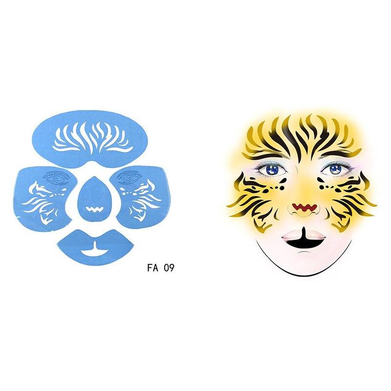 1pc Reutilizável Macio Rosto Pintura Tiger Pattern Borboleta Facial DIY Desenho Pintura Tatuagem Template Stencil Molde Para O Natal Xmas