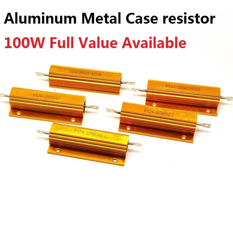 2 шт. RX24-100W-10RJ 20RJ 25RJ 30RJ 39RJ 5% алюминиевый металлический резистор 10R 20R 25R 30R 39R проволочный металлический корпус высокой мощности