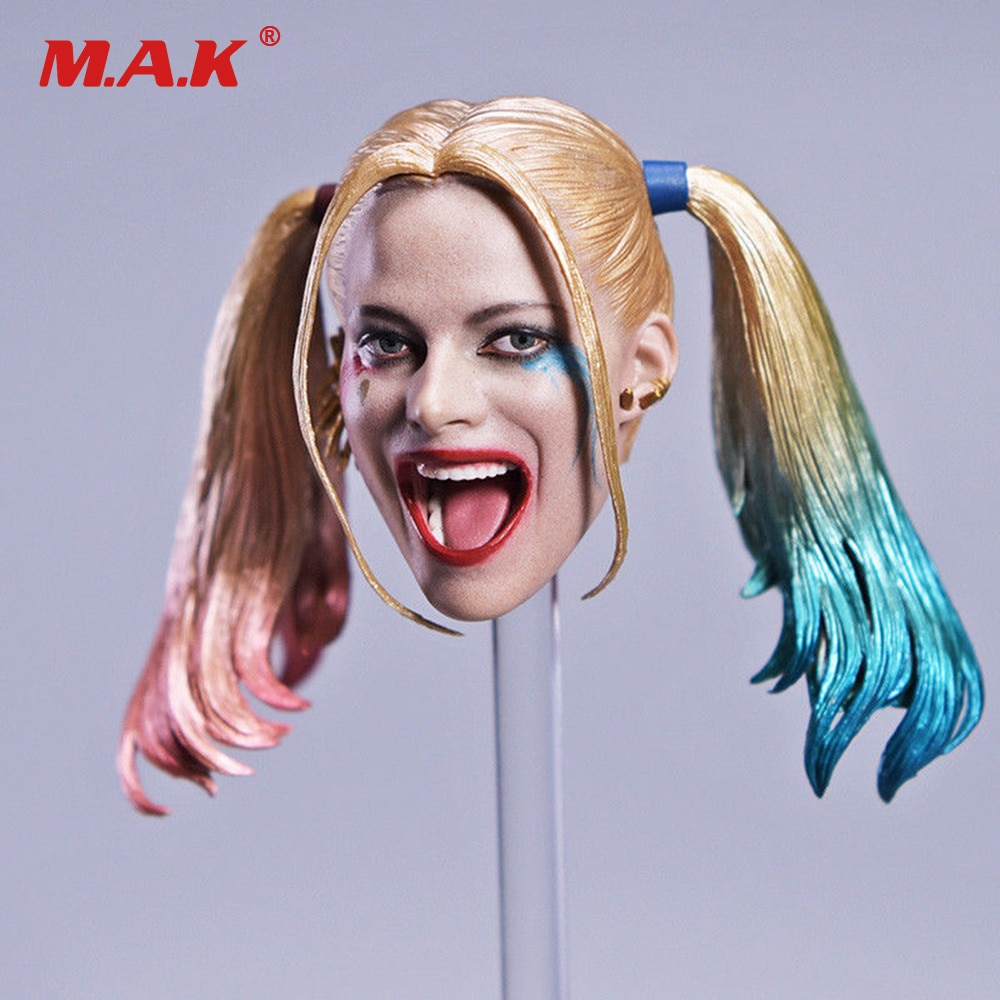 Talla de la cabeza del Joker Harley Quinn a escala 1/6, con pelo cambiable, cabeza móvil tallada para cuerpo de figura de acción de 12