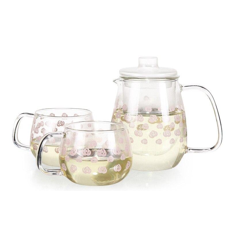 إبريق شاي زجاجي مقاوم للحرارة ، 1 وعاء 2 كوب ، طقم أكواب ، طقم شاي زجاجي شفاف ، شاي بعد الظهر ، شحن مجاني