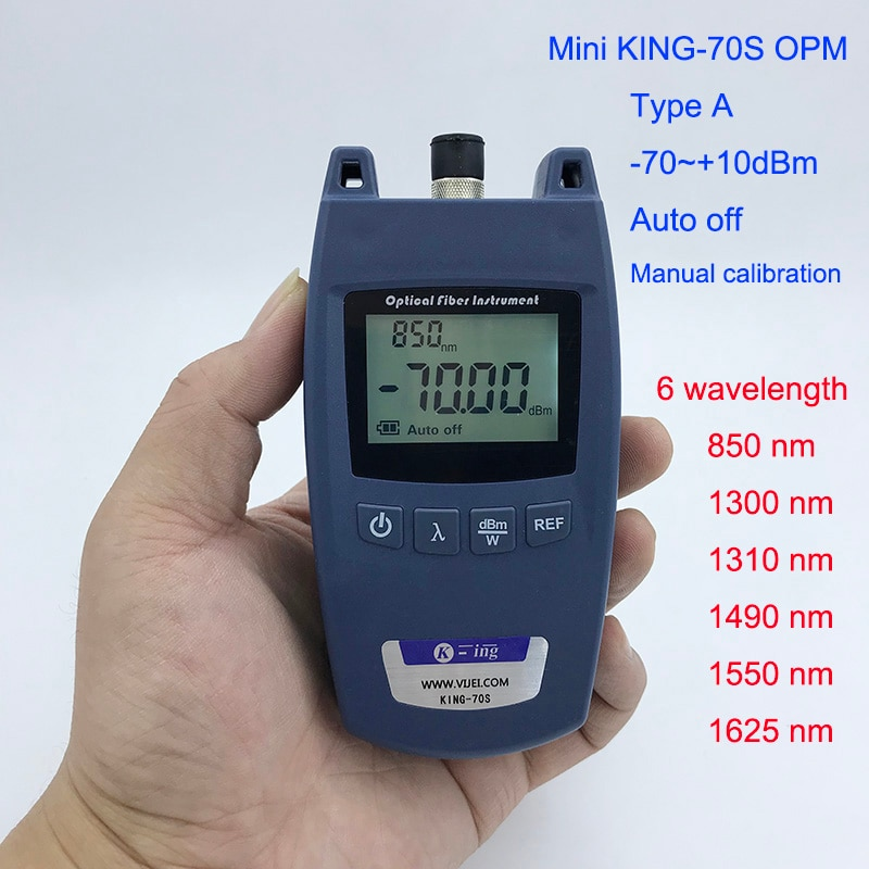 Ftthミニ光パワーメータKing-70Sタイプa opm光ファイバーケーブルテスター-70dbm〜+ 10dbmのsc/fcユニバーサルインタフェースコネクタ