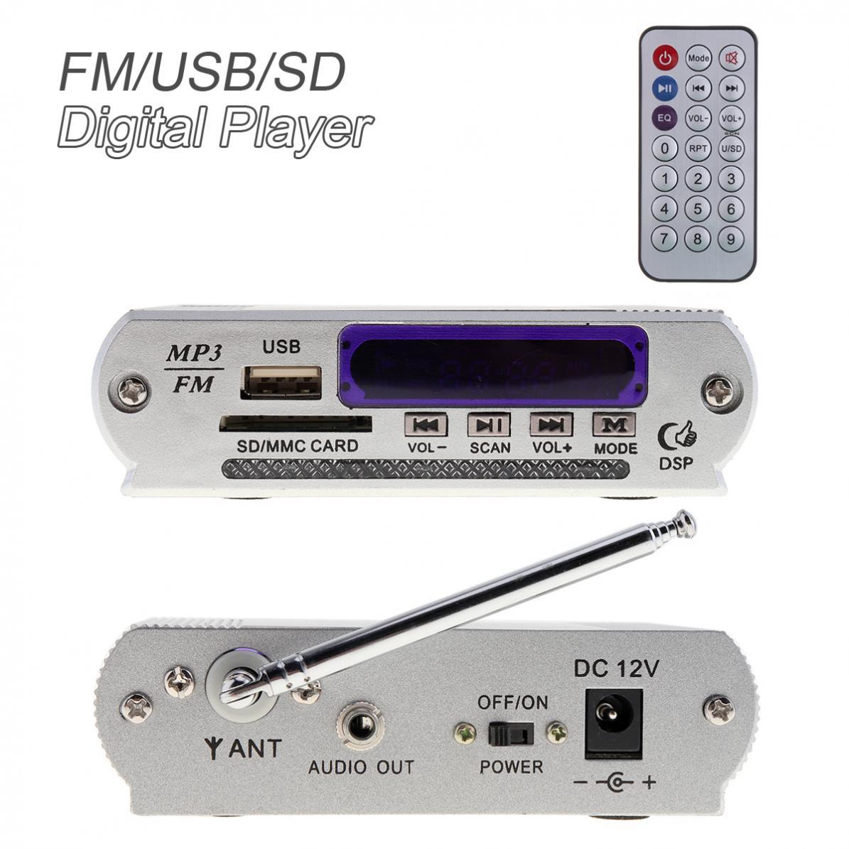 Dazzle LED pantalla amplificador de potencia reproductor de Audio Digital con Control remoto compatibilidad con FM MP3 SD USB DVD para coche motocicleta