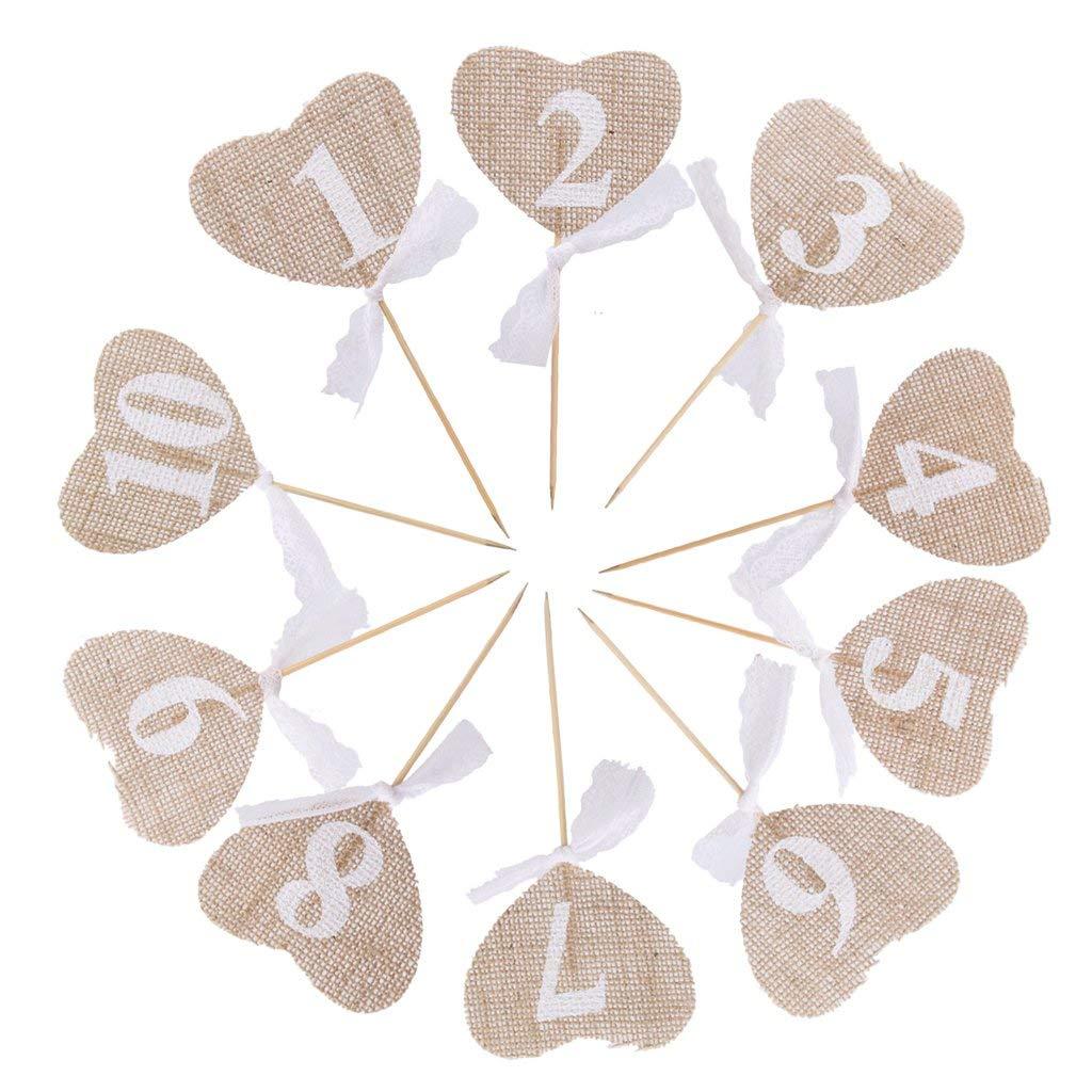Tarjetas de mesa con forma de corazón Número de Cupcake de lino Toppers con arco arte decoración bandera Decoración de mesa rústica 1 juego 14 Cm