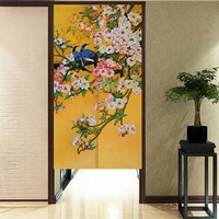 Chinese Ink Style Flower and Bird Pattern Door Curtain Japanese Noren Half Curtain