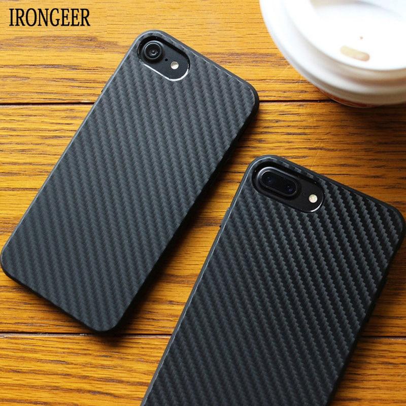 Funda de fibra de carbono IRONGEER para iPhone 7 8 Plus 6 6S XS MAX Soft Shock para iPhone X XS XR 5S SE