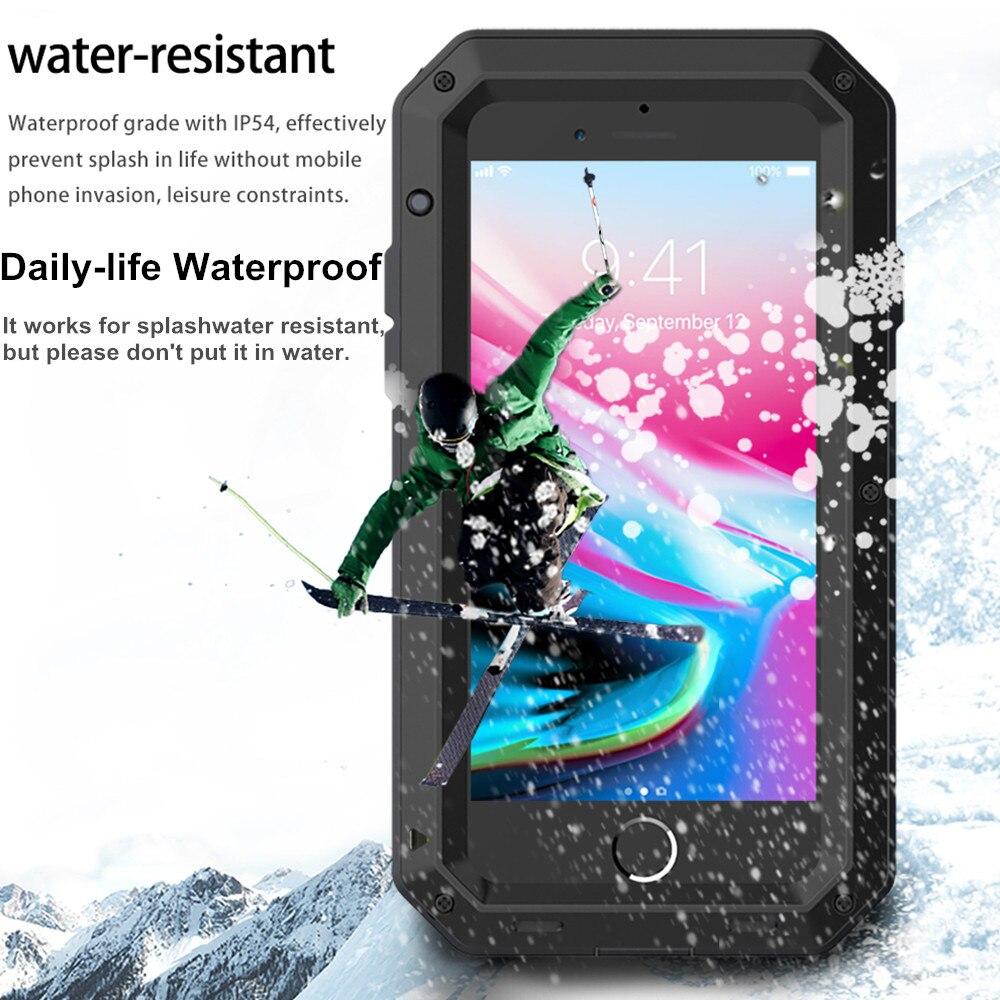 Funda de lujo a prueba de golpes impermeable a prueba de polvo para iPhone XS Max XR 10 armadura definitiva Metal aluminio funda para iPhone 8 7 6s Plus 5S SE