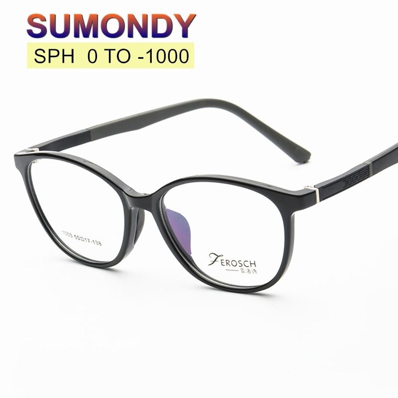 Filling Prescription SPH 0 to -10 Myopia Glasses Customized Men Women TR90 Frame Optical Spectacles