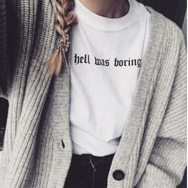 Hell Was Boring mujeres Tumblr Grunge Street camiseta Hipsters verano lindo mujeres moda divertida eslogan Satanás kawaii camisa Camisetas