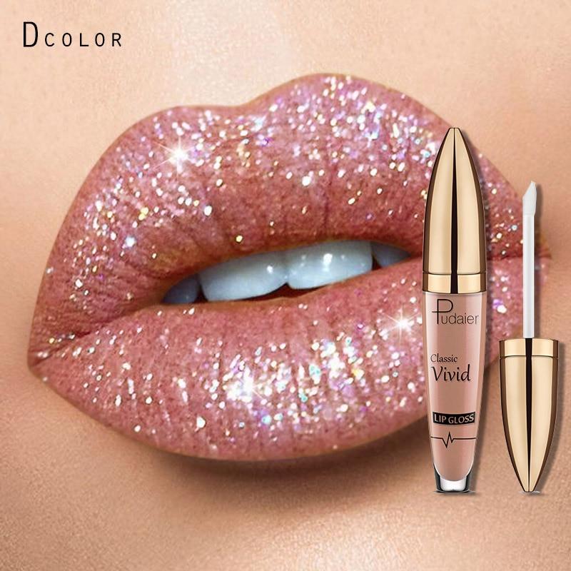 Brand Glitter Liquid Lipstick Metal Metallic Shimmer Shining Waterproof Pigment Lip Gloss Tint Cosmetics