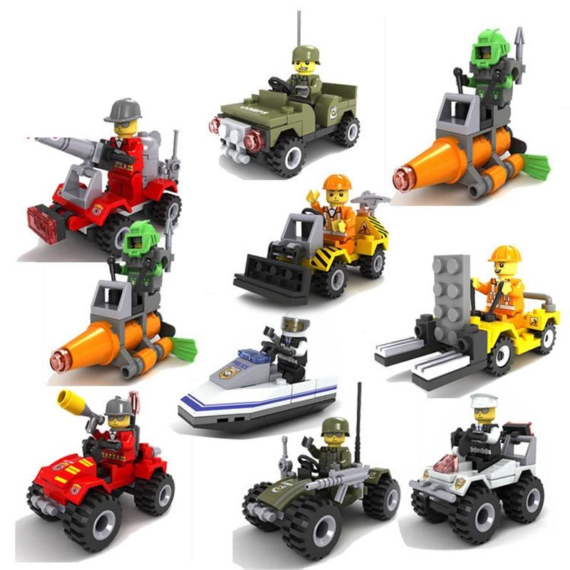 Policía de la ciudad yate de rescate de incendios camión de juguete bloques de construcción minifiguras para niños compatibles con LegoINGlys