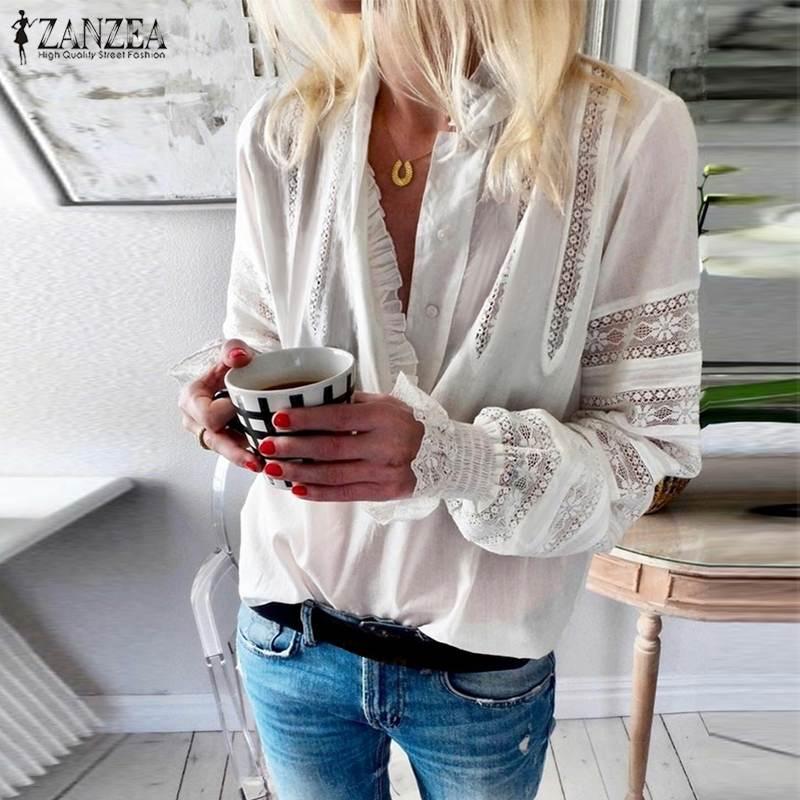 ZANZEA-Blusa con volantes para mujer, de moda de otoño, cuello en V, manga larga, botones, camisa básica de encaje para mujer, Blusas de ganchillo, Tops sólidos ahuecados