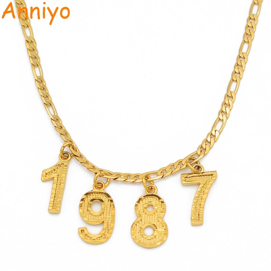O número inglês gargantilhas colares presente de aniversário personalizado ano de nascimento colares mulheres homens mãe personalizado jóias digitais #209506