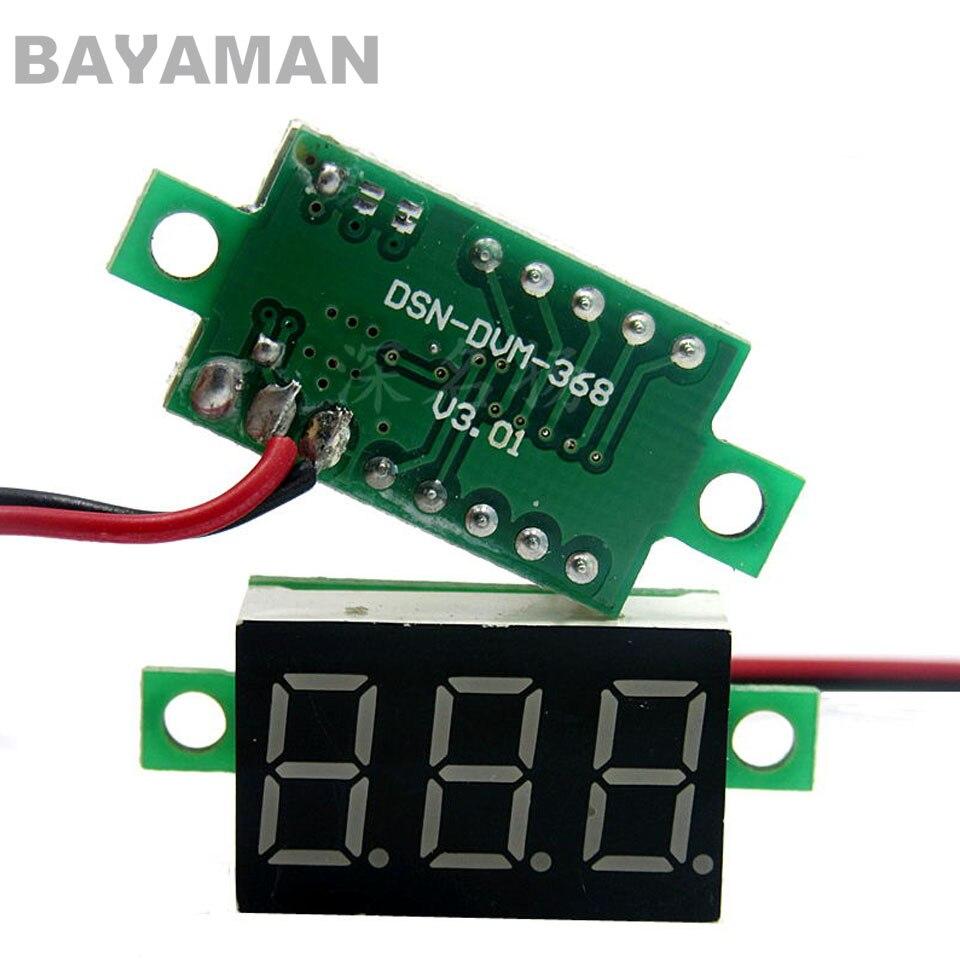 2pc 2-Línea Mini Digital del voltímetro del Panel LED de tensión metros 3-pantalla Digital para DIY multicóptero con radio control Drones
