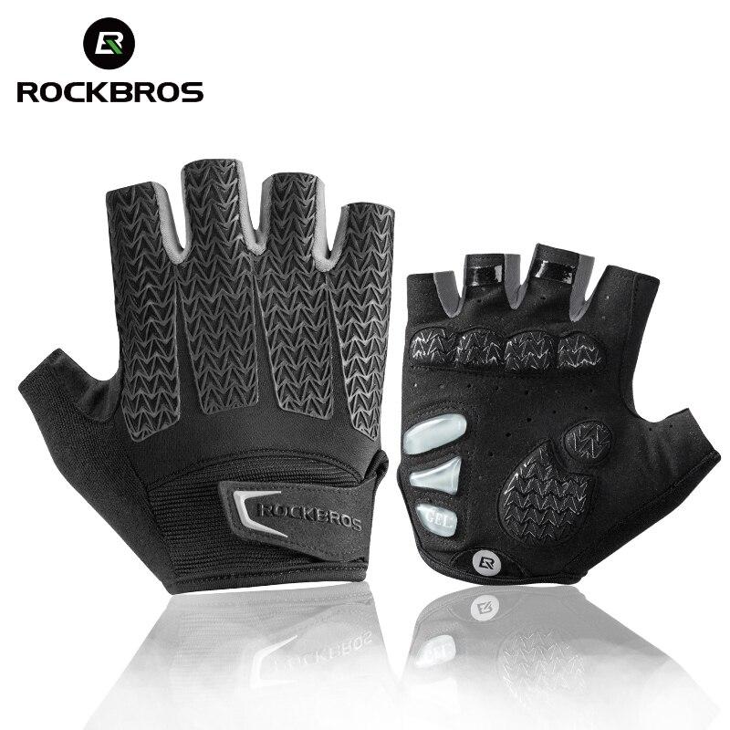 ROCKBROS, велосипедные перчатки, велосипедные, ударопрочные, с поролоновой подкладкой, на половину пальца, короткая перчатка, противоскользящие, дышащие, MTB DH, мужские перчатки для езды на велосипеде