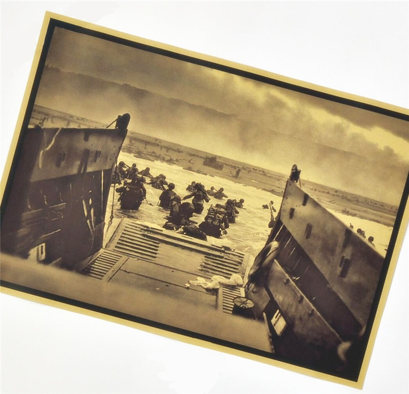 La II Guerra Mundial desembarco de Normandía de papel Vintage cartel Retro Kraft adornos de pared de papel decorativo cuadro adhesivo para pared decoración para el hogar