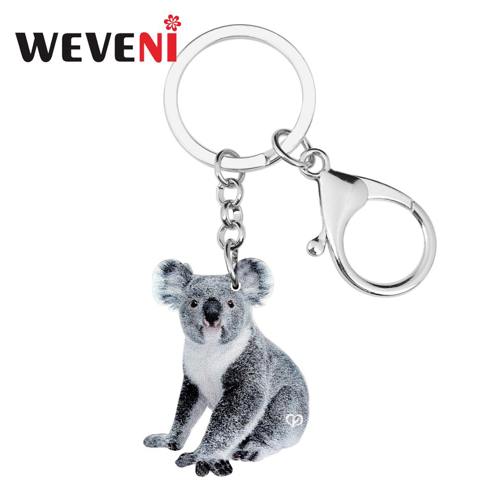 Llaveros WEVENI acrílicos novedosos con Koala bonita, llaveros, Anillos de Animal, joyería para mujeres, encantos para chicas, regalo, recuerdo australiano