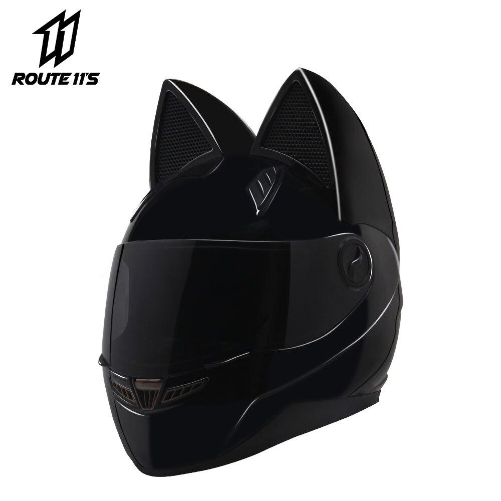 NITRINOS دراجة نارية خوذة النساء شخصية موتو بالسعة القط الأسود خوذة كامل الوجه موتو خوذة خوذة دراجة الموضة