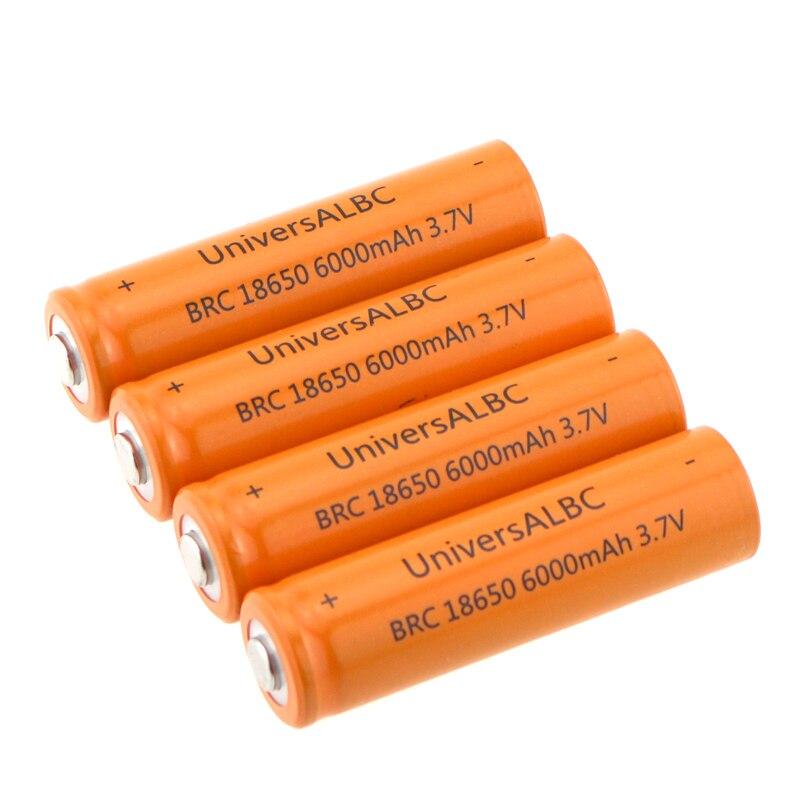 Batería universal albc 18650 recargable, batería 18650 de 6000mAh de capacidad, batería 3,7 V Li-ion 18650 para faros de linterna LED