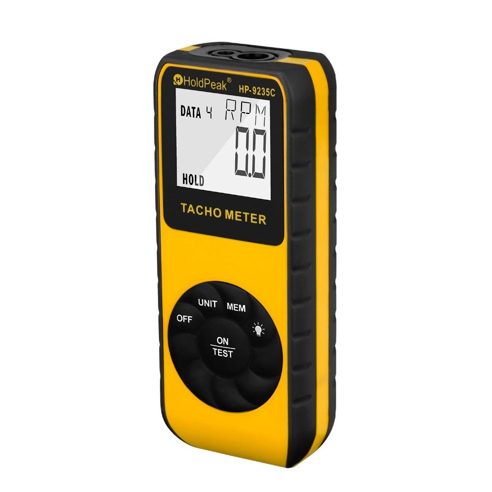HoldPeak الليزر مقياس سرعة الدوران HP-9235C سرعة متر الرقمية التشخيص أداة الصورة LCD RPM متر المحرك المحرك غير الاتصال مقياس سرعة الدوران