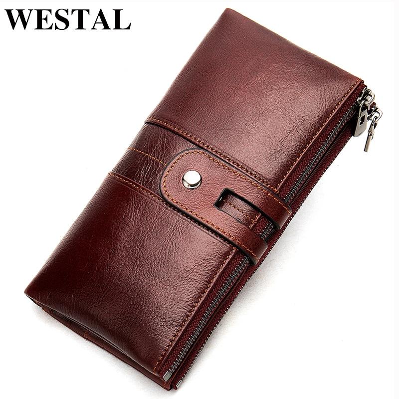WESTAL 100% المرأة المحفظة جلد طبيعي الإناث مخلب محفظة طويلة المرأة محافظ وحقائب يد Portomonee المال محفظة نقود معدنية على شكل حقيبة