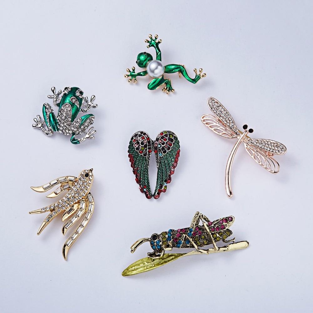 RINHOO Fashion Animal Green Frog Birds Dragonfly Crystal Rhinestone Brooch Pin for Women Costume Christmas Vintage Jewelry