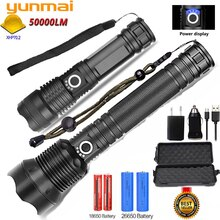 Yunmai 80000LMs Powerful LED Flashlight XHP70 XHP50 Rechargeable USB Zoom Torch XHP70.2 18650 26650 Self Defense Hunting Lamp