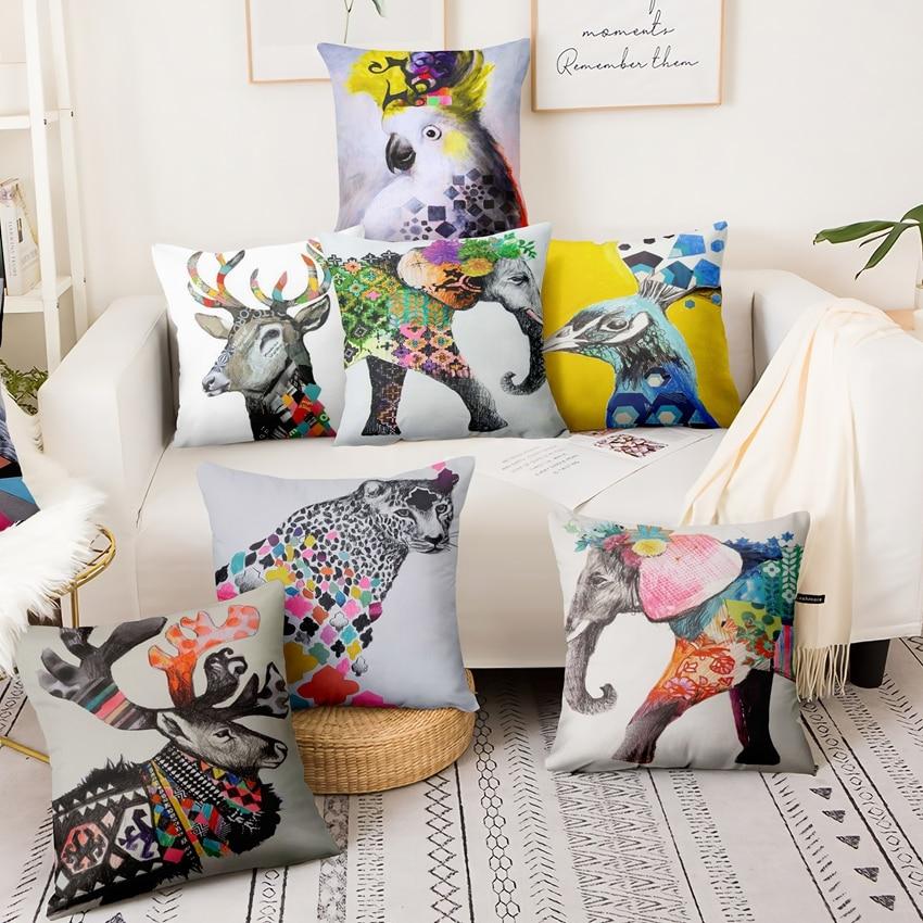 Acuarela Animal impreso lino fino funda de almohada abstracto étnicos pintura cojín decorativo almohada decorativas almofadas de 45*45cm