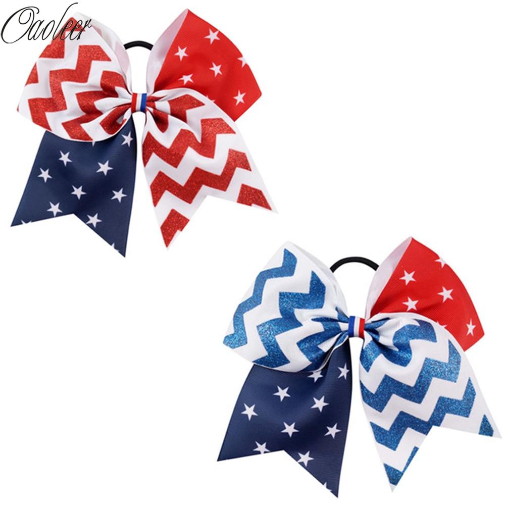 6 Teile/los 7 zoll 4th von Juli Haar Bögen mit Elastischen Haar Band Rot Weiß Blau Jubeln Bogen Glitter Chevron weißen Stern Haar Zubehör