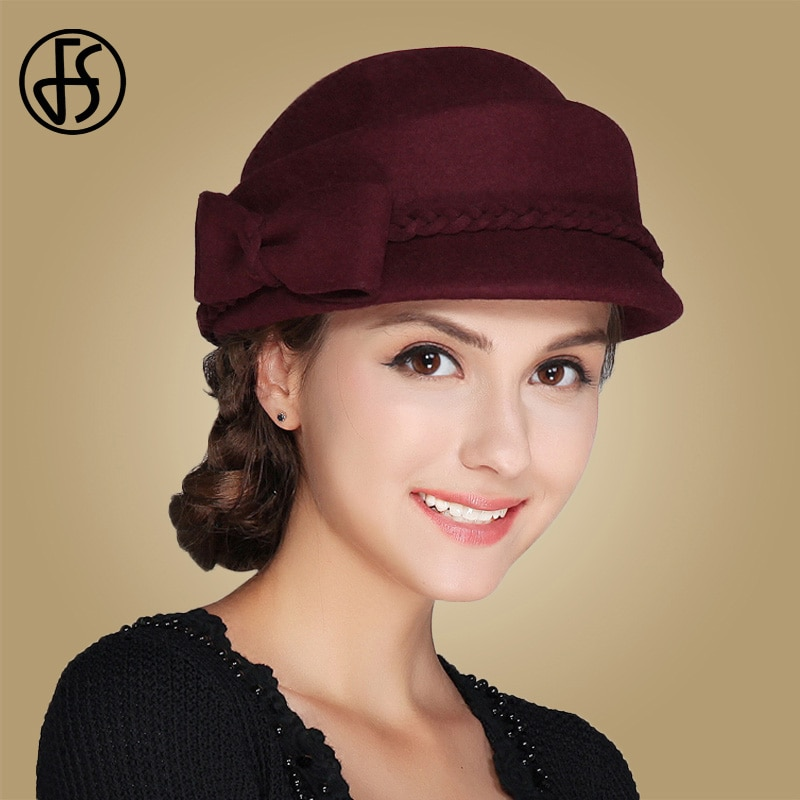 FS أنيقة النساء الكنيسة أسود قبعة فيدورا سيدة بلون الصوف قبعة قبعات خمر النبيذ الأحمر القبعات الفاتحة فام Feutre
