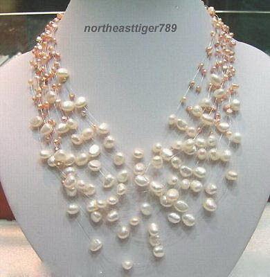 Venta caliente envío gratis> collar con cierre de perla Blanca Rosa genuina 18 KWGP