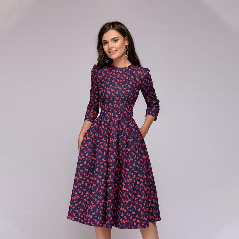 Осеннее платье с принтом 2019, женское элегантное платье-трапеция, Платье До Колена с рукавом три четверти, платья gold case платье до колена