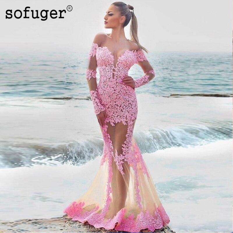 Rosa cola De sirena De encaje espalda apliques con escote ilusión De la tarde hasta el suelo Vestidos De fiesta vestido De noche