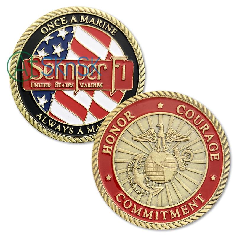 1/3/5/10 Uds. De los marines de los Estados Unidos monedas de desafío Semper Fidelis una vez un Marine siempre un Honor marino compromiso de valor USMC moneda