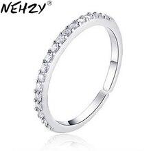 NEHZY 925 sello Chapado en plata nueva mujer joyería anillo de apertura de una sola fila de cristal mano al por mayor anillo de articulación