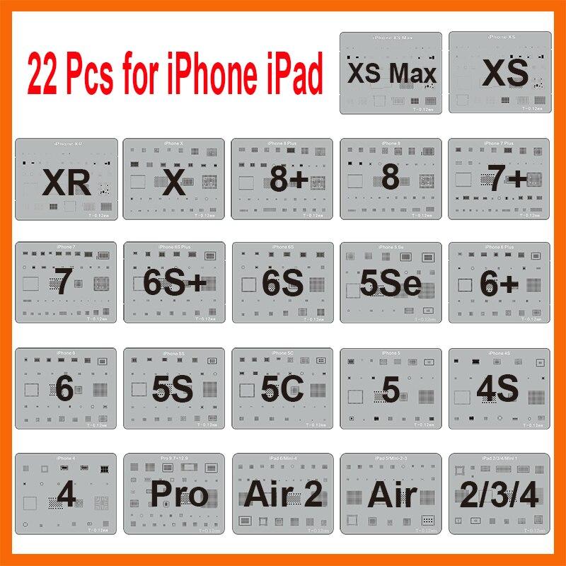 Heißer 22 teile/los IC Chip BGA Reballing Schablone Kits Set Solder vorlage für iphone XS Max XR X 8 7 6s 6 plus SE 5S iPad Motherboard