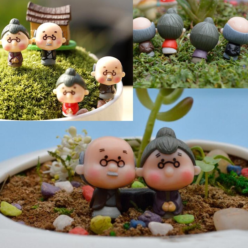 2017 figuren Puppen Großvater Großmutter PVC DIY Ornamente Bonsai Hause Dekoration Gelegentliche Anlieferung