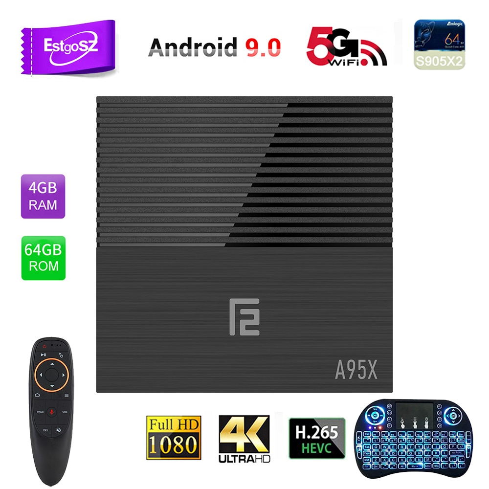 EstgoSZ A95X F2 Dispositivo de TV inteligente Android 9,0 OS 4GB DDR3 GB 32GB 64GB USB2.0 y 3,0 HDMI 2,1 de CPU S905X2 nueva GPU G31 apoya IPTV