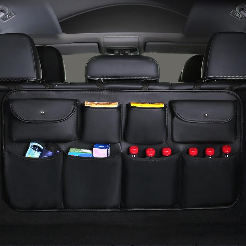 2020 New PU leather Car Rear Seat Back Storage Bag Multi-use Car Trunk Organizer Auto Stowing Tidyin