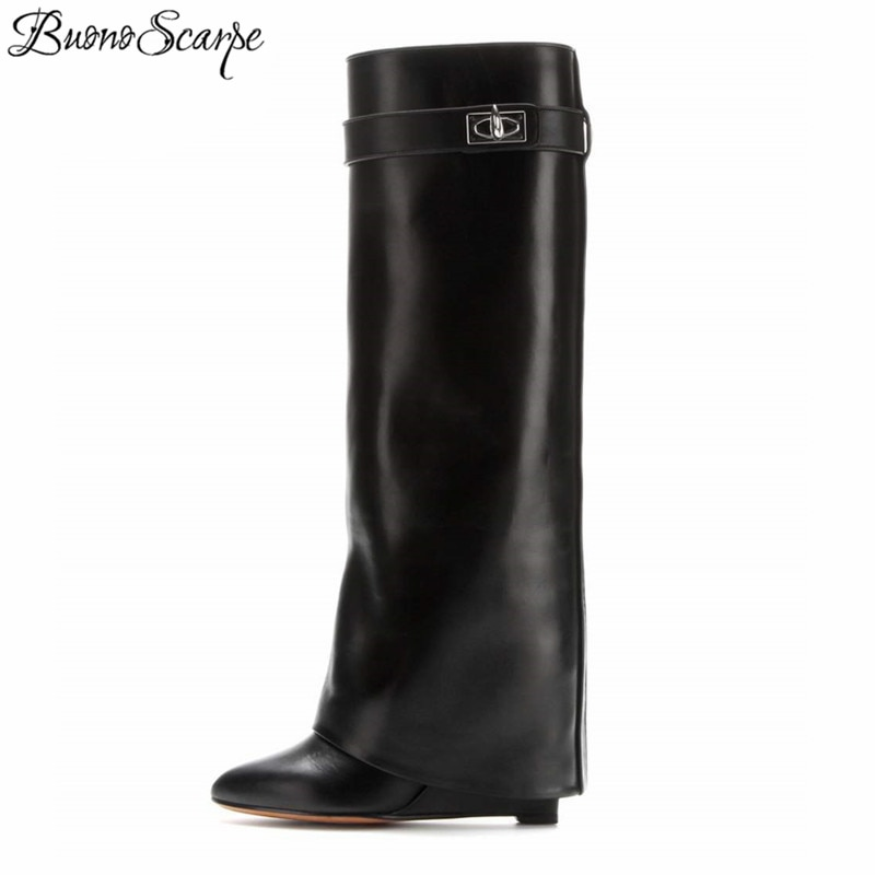 BuonoScarpe Shark Lock Women Wedge Boots Black Fold Knee High Heel Boots Pointed Toe Long Boots Female Wedges Heel Botas BigSize