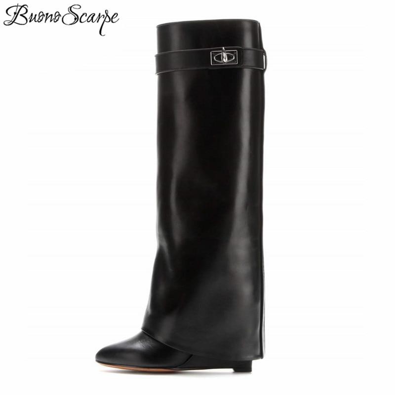 Shark Lock Women Wedge Boots Black Fold Knee High Heel Boots Pointed Toe Long Boots Female Wedges Heel Botas Mujer Big Size Shoe