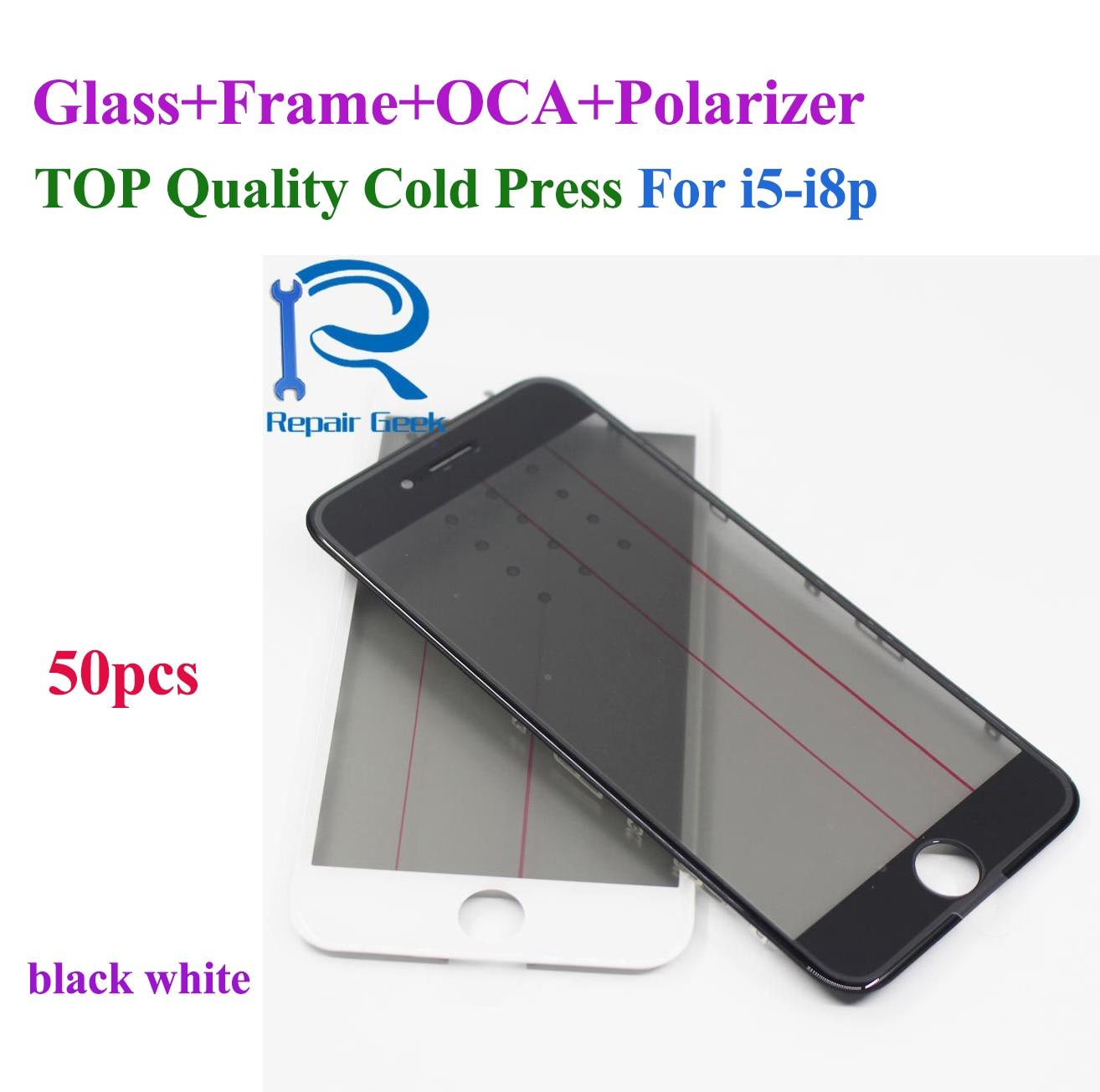 4 في 1 عدسة زجاجية أمامية مع إطار إيطار ، فيلم مستقطب OCA لهاتف iPhone 8 7 6 6s plus 5 5s 5c ، ضغط بارد ، 50 قطعة