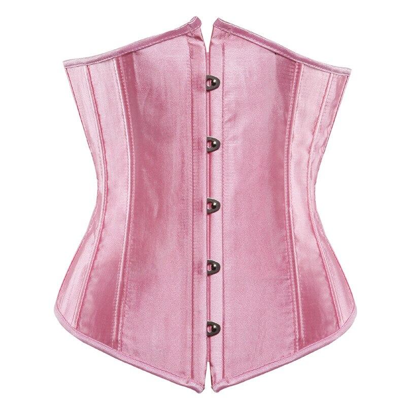 Underbust Corset Bustier Corsets Women Plus Size Korset Push Up Waist Slimming Cincher Sexy Boned Corselet Top Solid Pink Green