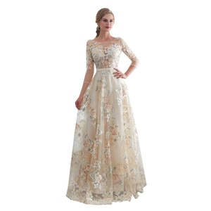 In stock 2019 Three Quarter Sleeve Evening Dresses  High Collar Appliques A Line Bride Dress Princess Wedding Gown Free Shipping