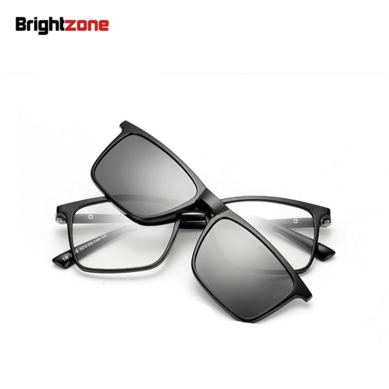Brightzone Very Light TR-90 Magnet Clip-On Polarized Gray 3D Night Driving Sunglasses Men Women Eyeglasses Myopia Optical Frame