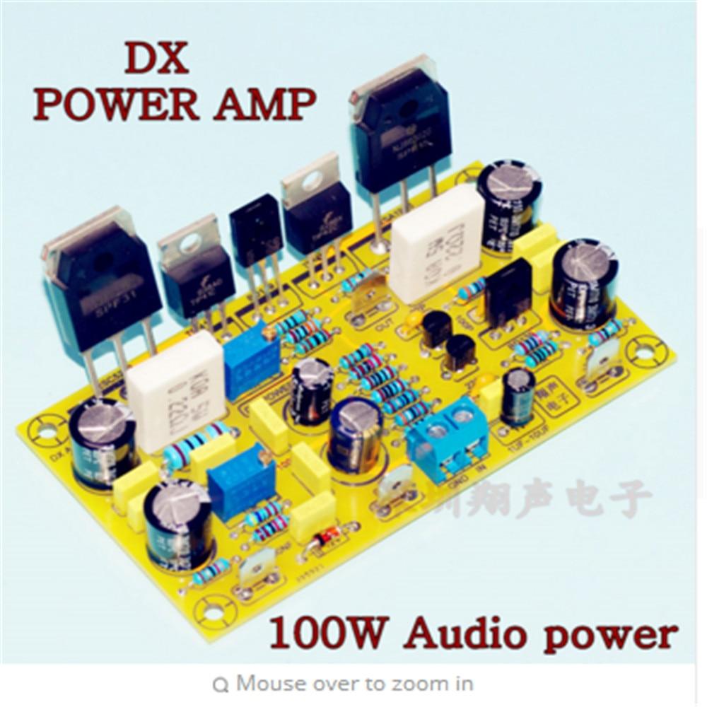 DX AMP 100W 4R mono Placa de amplificador de audio en NJW0281 NJW0302 + TIP41/TIP42 + en 2N5401 entrada diferencial etapa amp bord