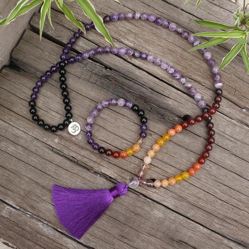 8 мм бусины из натурального камня, аметист, красочный, кварцевый кристалл, наборы джапамала, духовные ювелирные изделия, медитация, Вдохновл...