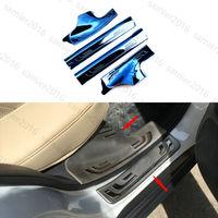 4pcs Blue Steel Door Inner Sill Scuff Plate Trim Cover For Honda CRV CR-V 12-16