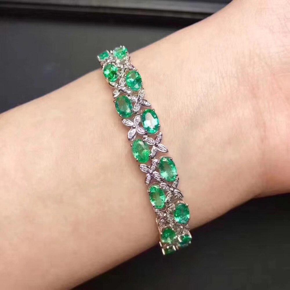 Pulseira verde Natural emerald gemstone Natural Linha de Luxo Trevo Pulseira S925 pulseira da menina das mulheres do presente do partido Jóias finas