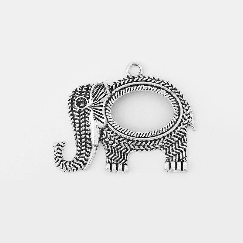 Colgante de elefante con diseño de orejas de trigo talladas en 10 Uds. Para cabujón ovalado de 25x18mm, colgante de 33x49mm